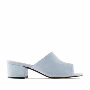 Mule papuče sa niskom štiklom, svetlo plave