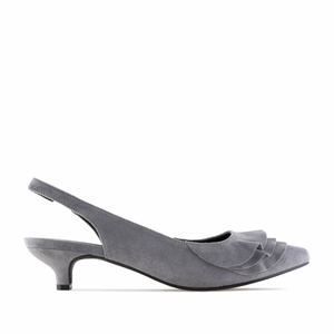 Grey Suede Frill Slingback Shoes