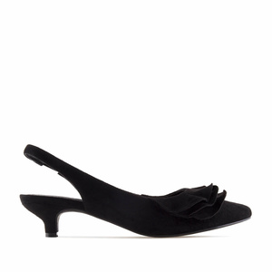 Black Suede Frill Slingback Shoes