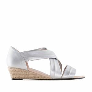 Sandale sa niskom plutanom platformom, srebrne