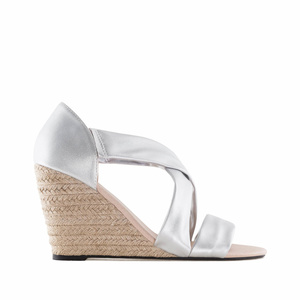 Silver faux Leather Wedges
