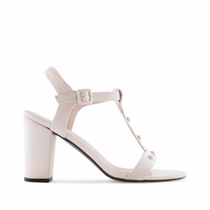 Beige Suede T-Bar Sandals