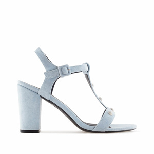 Sky Blue Suede T-Bar Sandals