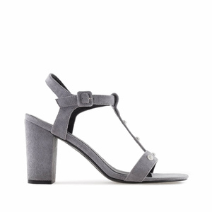 Grey Suede T-Bar Sandals