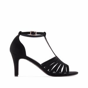 Celosemišové páskové sandále na podpatku. Černé.