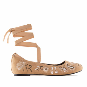 Embroidered Camel Suede Ankle-Tie Ballerinas