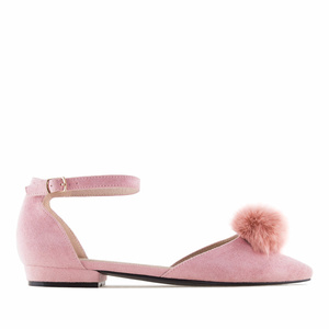 Pink Suede Pom-Pom Ankle-Tie Ballet Flats