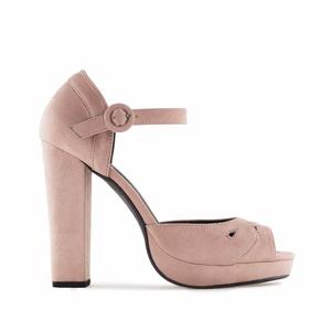 Beige Suede Platform Sandals