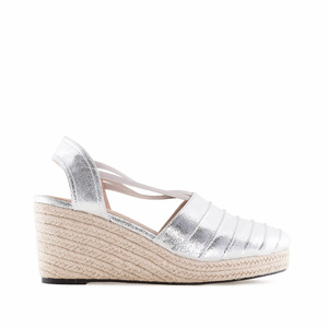 Silver color Wedge Espadrilles