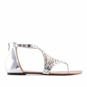 Zdobené sandále romanas, stříbrné.