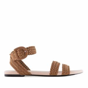 Ravne pletene sandale, braon
