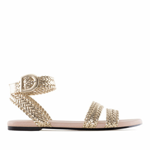 Gold Braided Flat Sandals