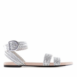 Silver Braided Flat Sandals