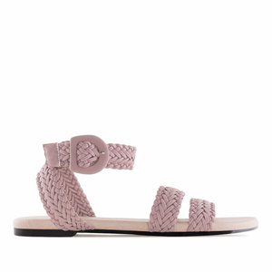 Pink Braided Flat Sandals