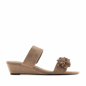 Brown Suede Flower Sandals