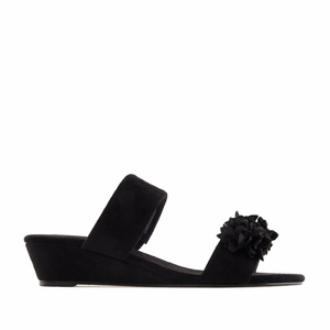 Black Suede Flower Sandals