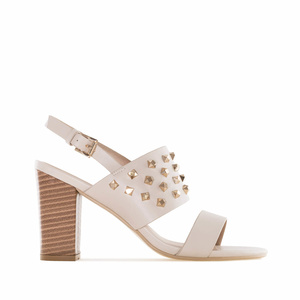 Beige faux Leather Tack Sandals