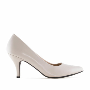 Beige faux Leather Heeled Shoes
