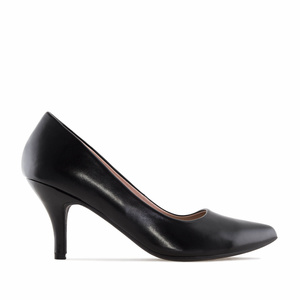 Black faux Leather Heeled Shoes