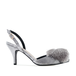 Pom-pom Slingback Shoes in Grey Velvet