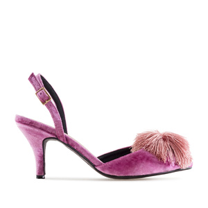 Pom-pom Slingback Shoes in Pink Velvet