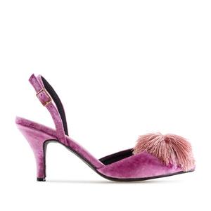 Chaussures Velvet Rose avec Pompon