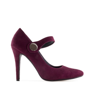 Escarpins Mary Janes en Daim Bordeaux