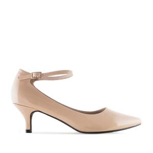 Ankle Stilettos in Beige Patent