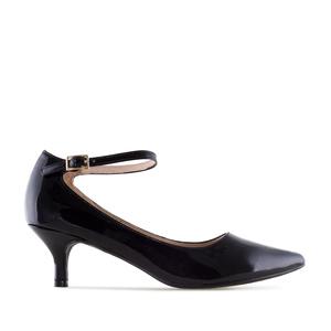 Ankle Stilettos in Black Patent