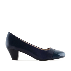 Toe Cap Court Shoes in Navy faux Leather
