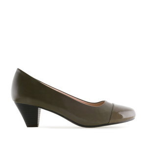 Toe Cap Court Shoes in Olive Green faux Leather