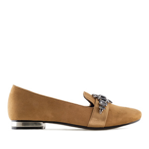 Gemstone Slipper Shoes in Camel Suede