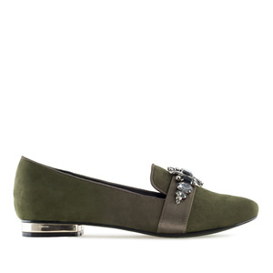 Gemstone Slipper Shoes in Olive Green Suede
