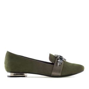 Antilop cipele-baletanke sa kamenčićima, maslinasto zelene
