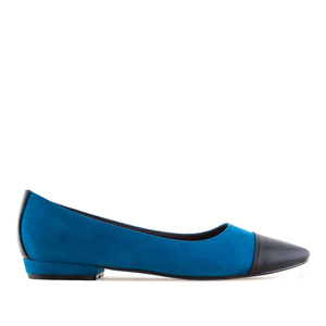 Toe Cap Ballet Flats in Blue Suede