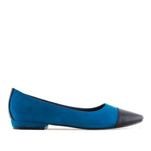 Semišové baleríny s úzkou špičkou. Kombinace modrá a černá.