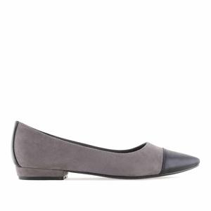 Loafer aus grauem Velourleder mit schwarzer Spitze