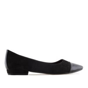 Toe Cap Ballet Flats in Black Suede