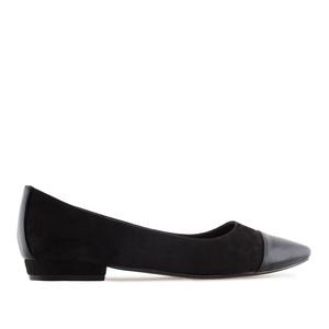 Loafer aus schwarzem Velourleder mit glatter Spitze