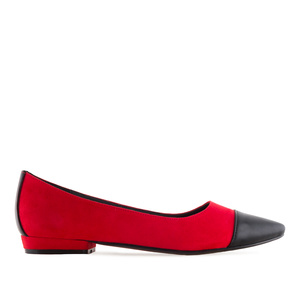 Toe Cap Ballet Flats in Red Suede