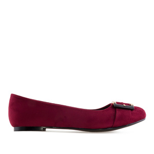 Buckled Ballet Flats in Burgundy Suede