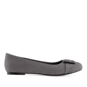 Buckled Ballet Flats in Grey Suede