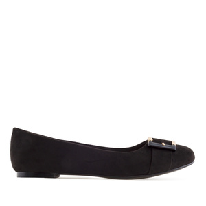 Buckled Ballet Flats in Black Suede