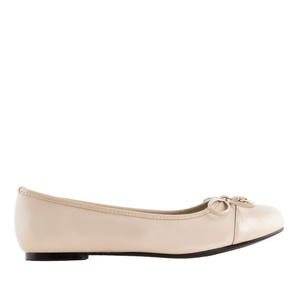 Ballet Flats in Beige faux Leather & Patent