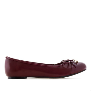 Ballet Flats in Burgundy faux Leather & Patent