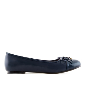 Ballet Flats in Navy faux Leather & Patent