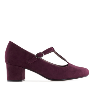 T-Bar Mary Janes in Burgundy Suede