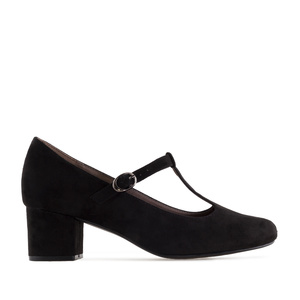 T-Bar Mary Janes in Black Suede