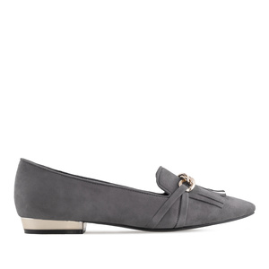 Fringe Slipper Shoes in Grey Suede