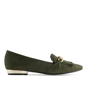 Nazouváky slipper se zdobenou špičkou. Zelený olivový semiš.